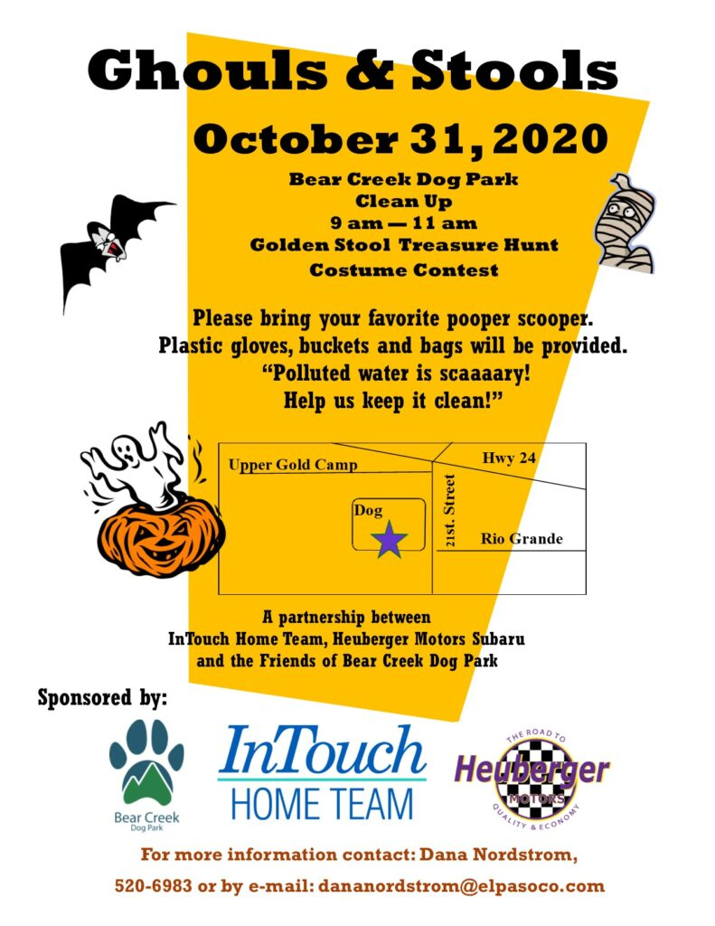 A poster for the Ghouls & Stools Cleanup with October 31, 2020