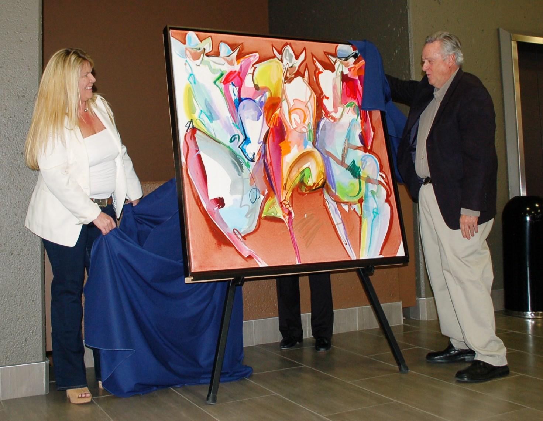 Blazing Saddles painting unveiling