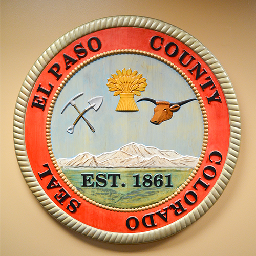 Painted wooden county seal