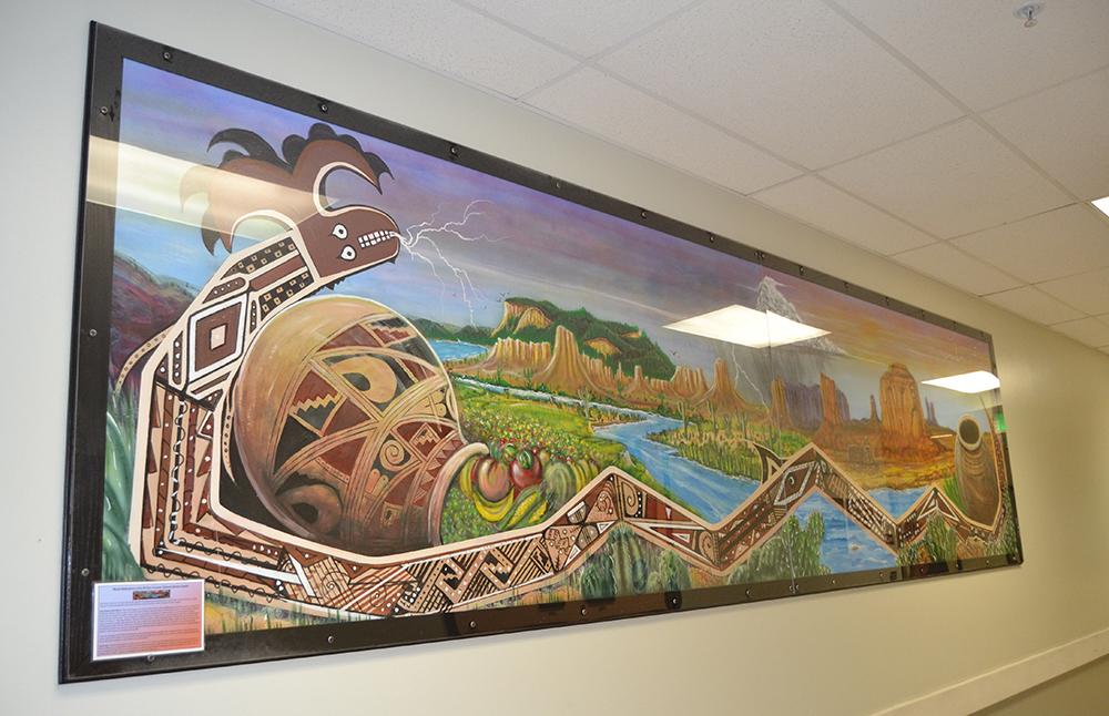 Nuevo Casas Grandes mural from left