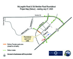 This is a map graphic showing a detour around Rolling Thunder Closure with roundabout open