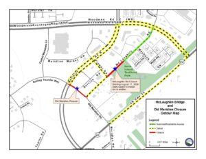 Map showing McLaughlin Bridge and Old Meridian Closure Detour