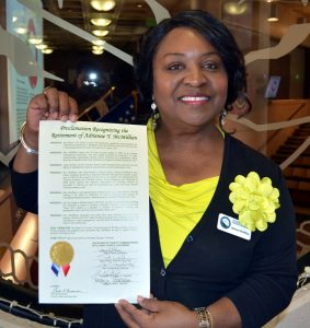 Adrienne McMillian with the Department of Human Services received a Proclamation for her retirement on Thursday, June 28.