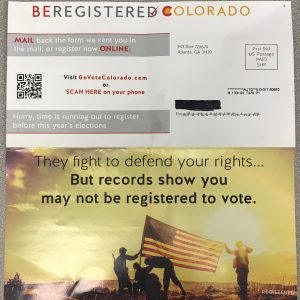 "No at EPC Mailer: ""Be Registered Colorado"""