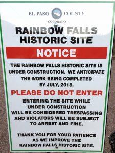 Rainbow Falls Closure Sign