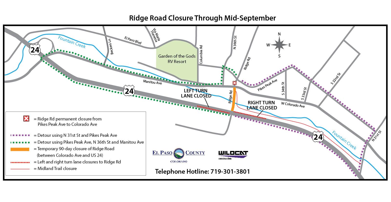 Ridge Road detour map June 2018