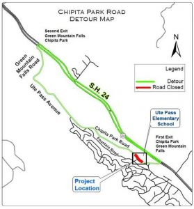Chipita Park Road Detour Map