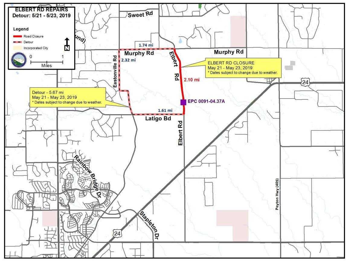 Elbert Road Culvert Replacement Project Map