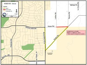 Huber Road detour map