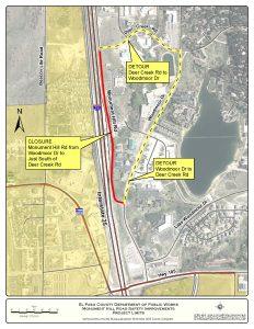 Monument Hill Rd Detour Map August 2019