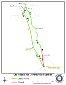 A map that shows the detour route of old pueblo road closure