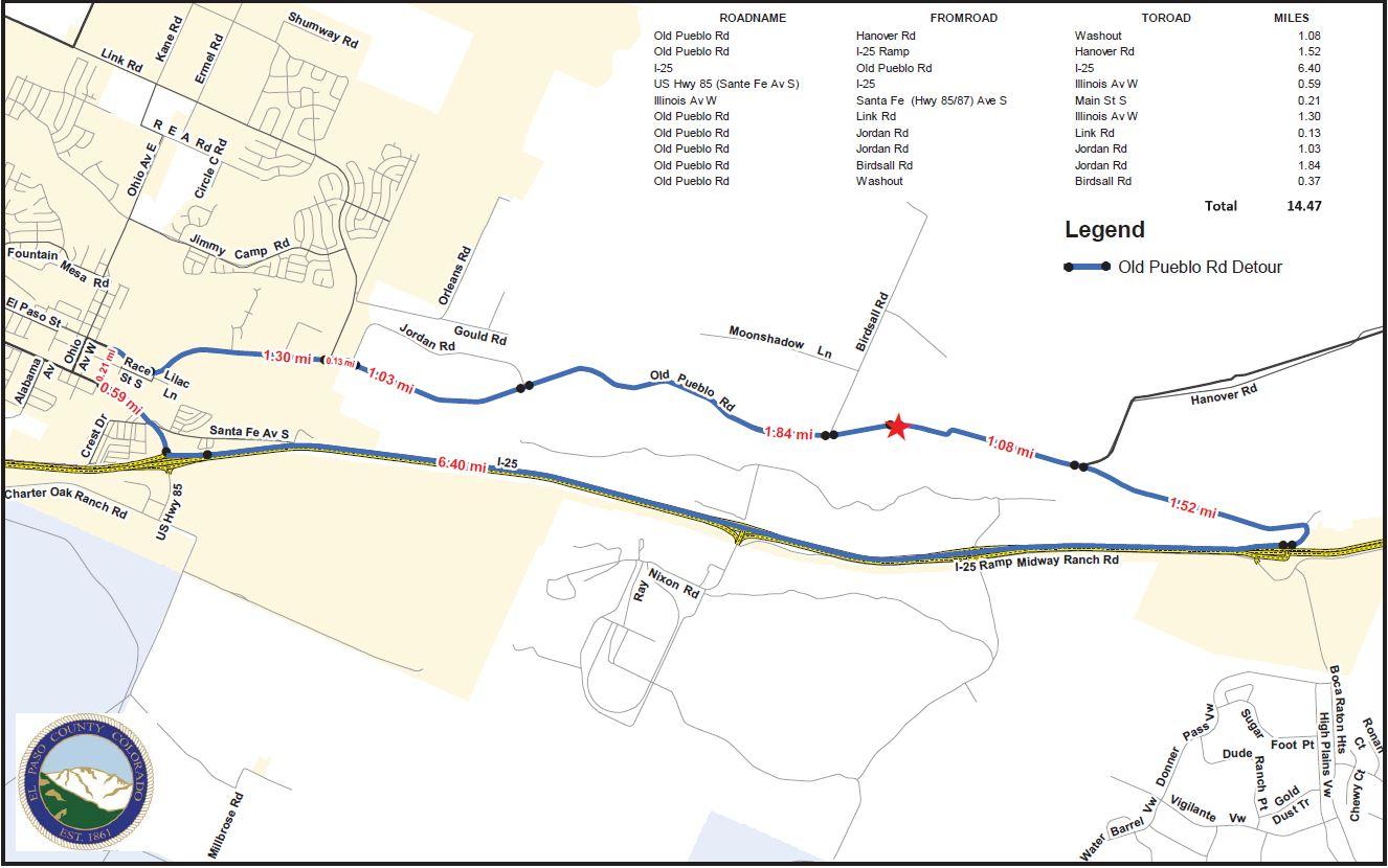 Detour map to get around the Old Pueblo Rd closure