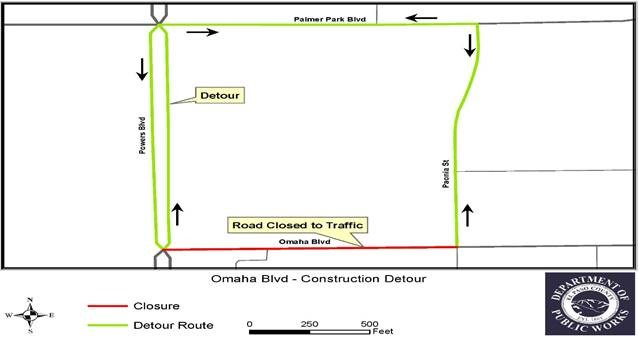 The image is of a map showing the detours for Omaha Blvd. Drivers should take Palmer Park as an alternate route.