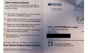 A picture of a United States Postal Service Mailer that has misleading information.