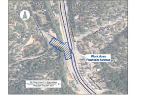 A map showing where work will be done on Fountain Ave near US Hwy 24 in El Paso County