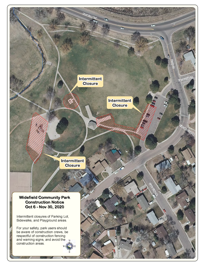 The image is a map of Widefield Park showing areas where intermittent closures will take place including some sidewalks, park areas and playgrounds.